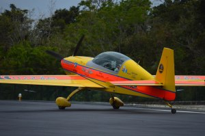 Pilot Juan Miguel Garcia Salas about to take off